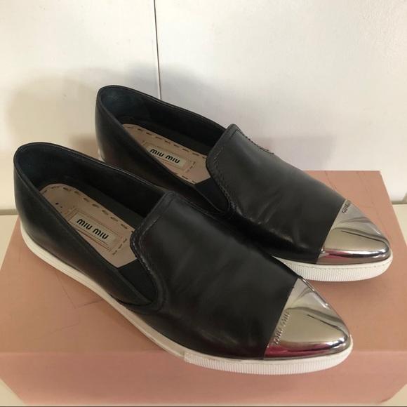 Miu Miu Metal Cap Black Leather Slip-On Sneakers